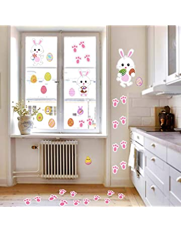 85b1deca049 Howaf 39Pcs Easter Decorations Easter Eggs Bunny Footprint Stickers Easter  Window Clings Bunny Decals Easter Wall