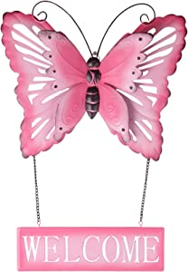 Metal Butterfly Wall Decor, Rusty Pink Butterfly Wall Art With Removable Welcome Sign, Use For Indoor Wall Decor And Outdoor Hanging Decoration - 19x13x2 Inches