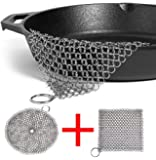 "LOOCH Cast Iron Cleaner 2 Pack- 8""x6"" and 7""x7"" More Efficient Stainless Steel Chainmail Scrubber for Cast Iron Pan Pre-Seasoned Pan Dutch Ovens Waffle Iron Pans Scraper Cast Iron Grill Scraper Skill"