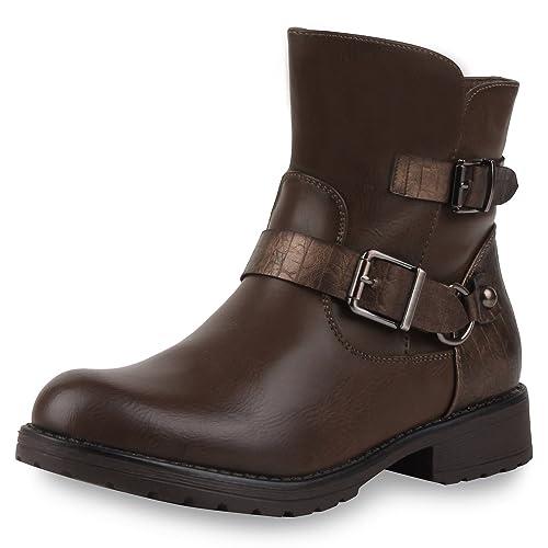 napoli-fashion Damen Stiefeletten Stiefel Biker Boots Nieten Warm Gefüttert Schuhe   Jennika®