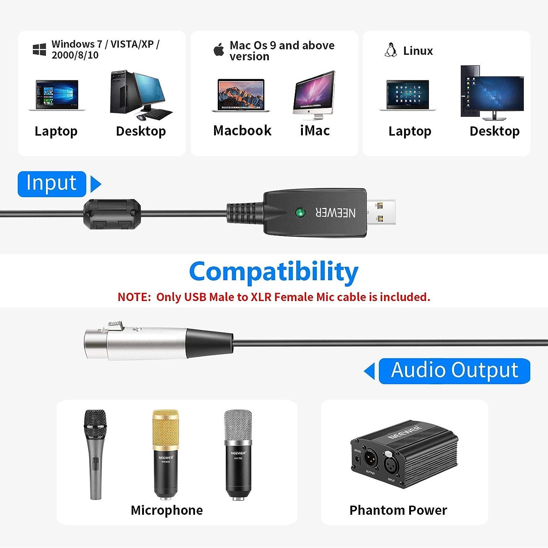 Neewer Cavo USB per Microfono 3 Metri Connettori USB Maschio a XLR Femmina Cavo di Conversione Cavo Audio da Studio per Microfono Registrazione Karaoke Canto