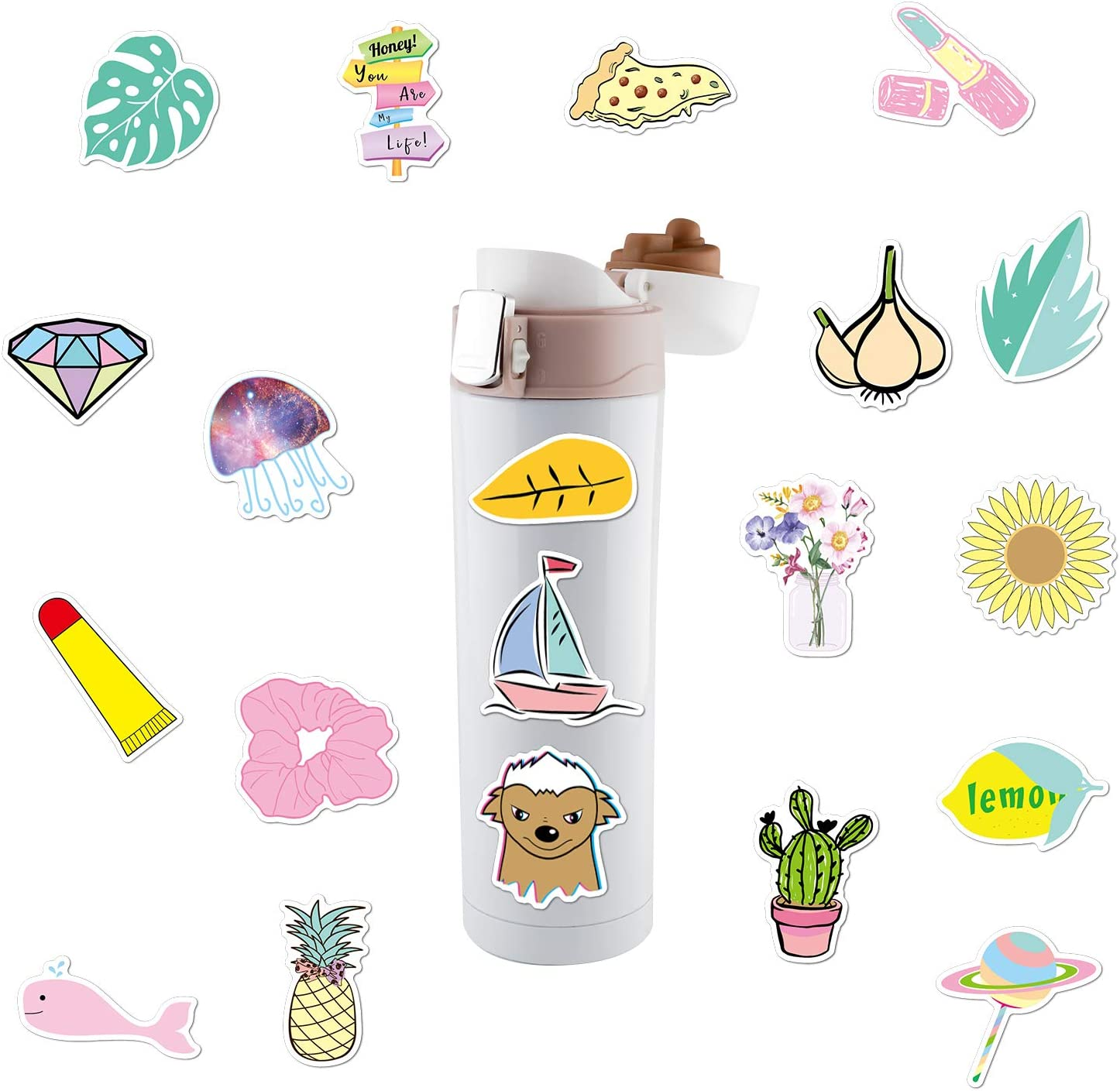 FEPITO 216Pcs Water Bottle Stickers Waterproof Graffiti Sticker Decals Vinyl Cute Stickers for Laptop Skateboard Car Travel Suitcase Decoration Motorcycle Phone Bicycle