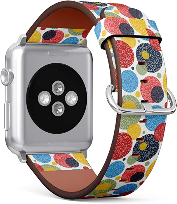 Compatible with Small Apple Watch 38mm & 40mm (Series 5, 4, 3, 2, 1) Leather Watch Wrist Band Strap Bracelet with Stainless Steel Clasp and Adapters (Decorative Polka Dot)