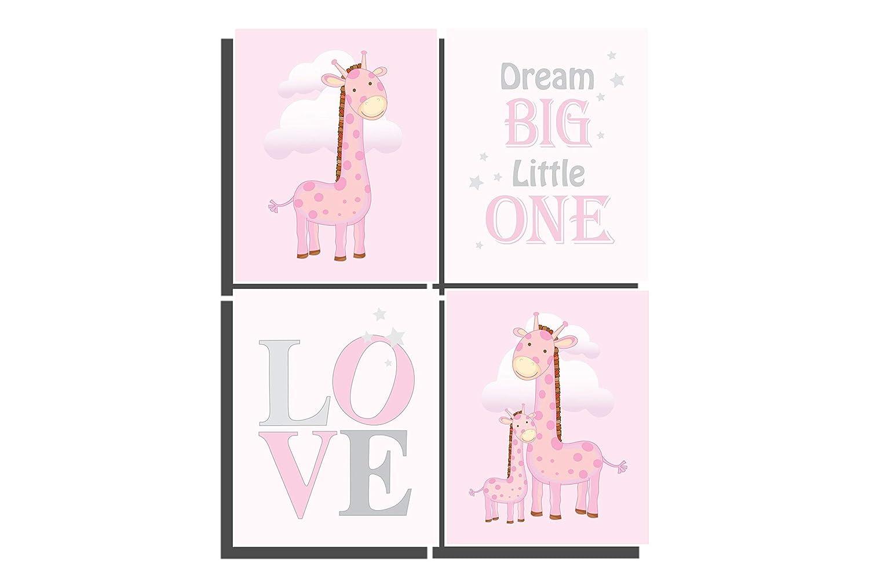 Pink Nursery Decor Baby Girls Room Set of 4 Unframed Prints Giraffe Wall  Art 8 x 10 inches Girls Bedroom Ideas Dream Big Little One Baby Girl Shower  ...