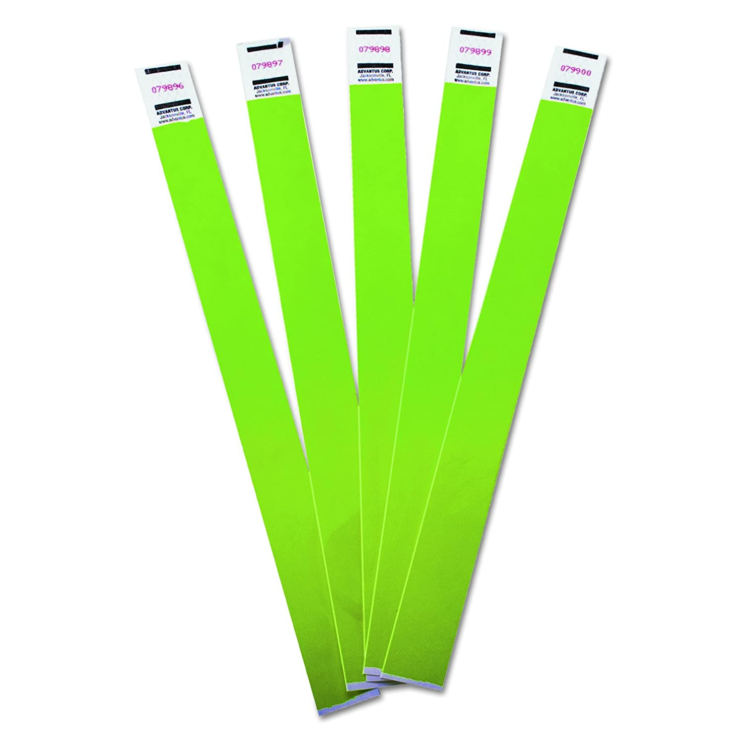 Advantus Crowd Management Tyvek Wristbands, Sequentially Numbered, Green, Pack of 500, AVT75511
