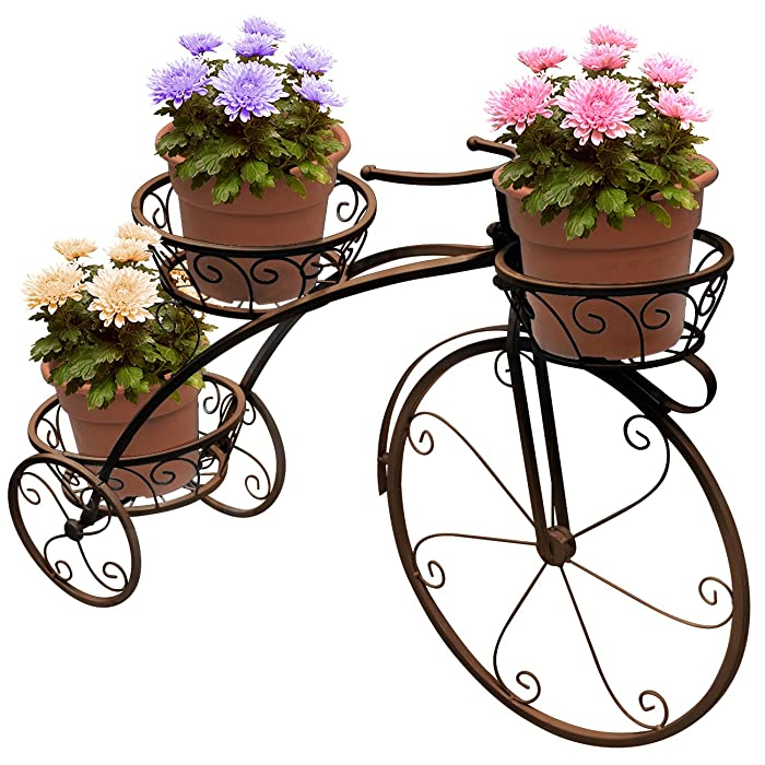 Sorbus Tricycle Plant Stand - Flower Pot Cart Holder - Ideal for Home, Garden, Patio - Great Gift for Plant Lovers, Housewarming, Mother's Day - Parisian Style (Bronze)