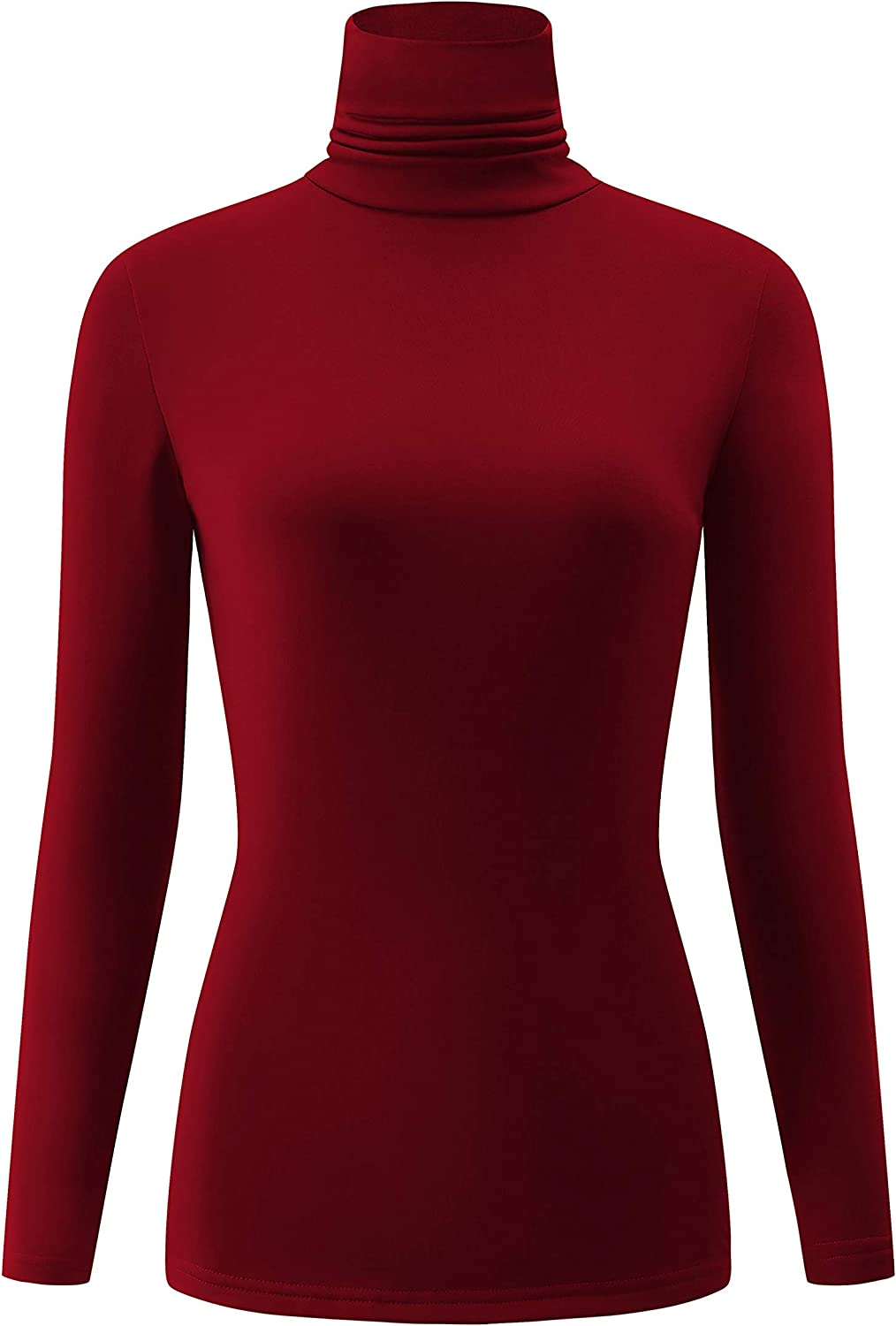 KLOTHO Casual Turtleneck Tops Lightweight Long Sleeve Soft Thermal Shirts for Women