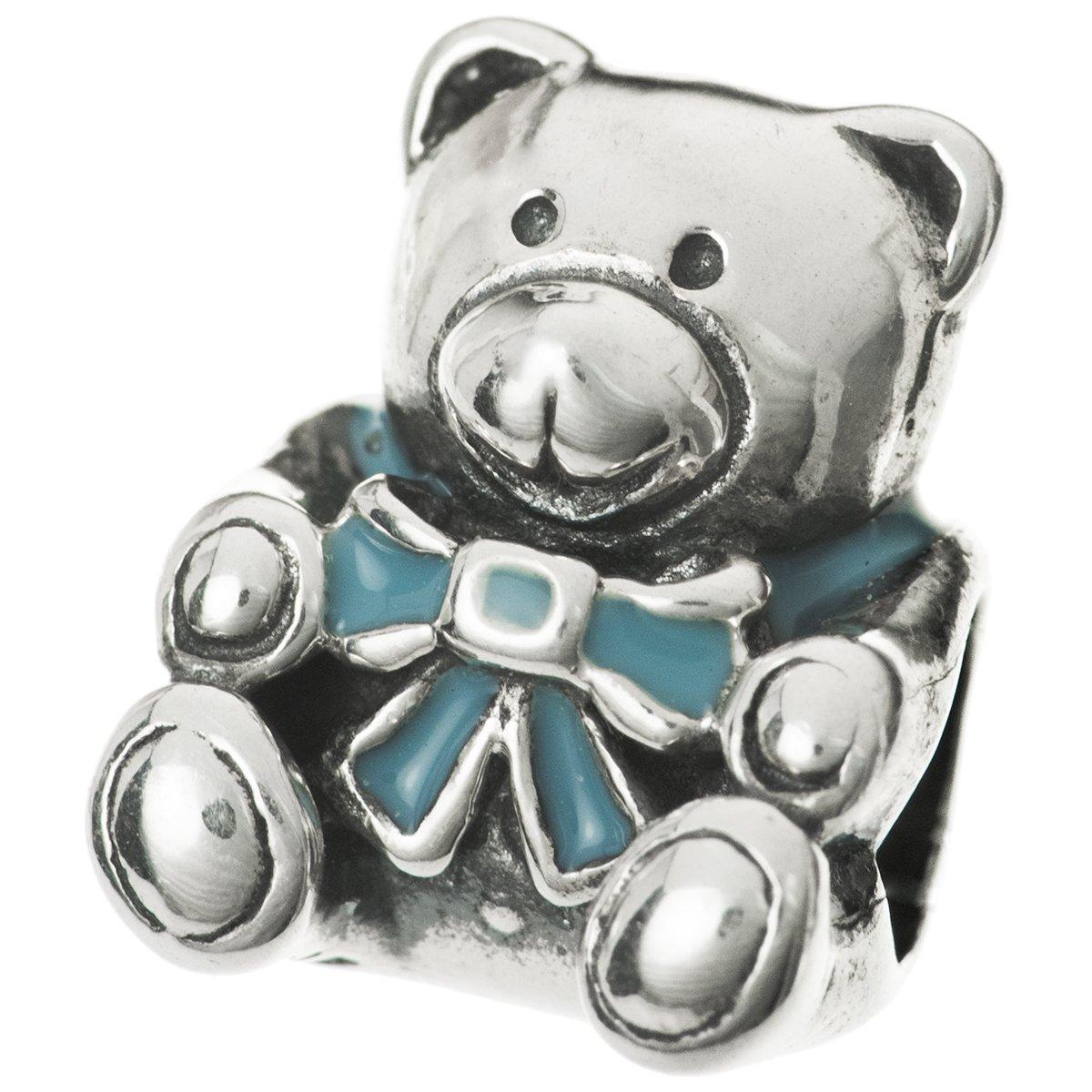 Teddy Bear Charm Bead 925 Sterling Silver