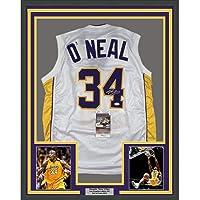 Framed Autographed/Signed Shaquille Shaq O'Neal 33x42 Los Angeles LA White Basketball Jersey JSA COA photo