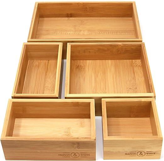Organizador de cajones de bambú de 5 piezas | cajas de almacenamiento de madera duraderas | Tamaños surtidos | Versátil y configurable | M&W: Amazon.es: Oficina y papelería