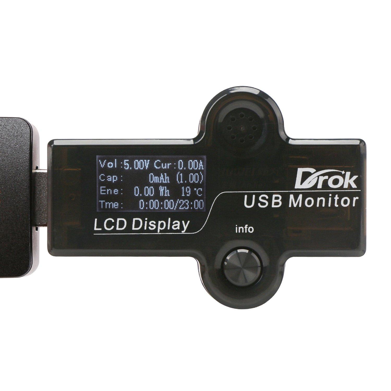 DROK® 0.96 Usb-Multimeter-Amperemeter-Voltmeter-Thermometer, DC 4-25V Spannungs-Strom-Prüfvorrichtung LCD-Anzeigen-Verkleidung, Elektrizitäts-Kapazitanz-Zeit-Watt-Messinstrument, 6in1 Digital-Messinstrumente Volt-Prüfspitzen-Gadget mit Warnungssystem, Unterstützung QC 2.0 / 3.0 schnelles Aufladen