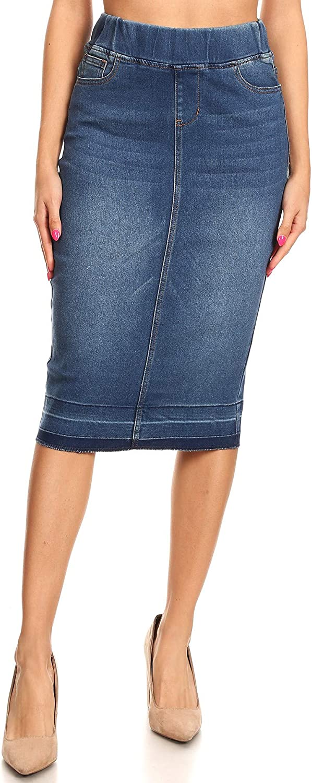 Women/'s Juniors//Plus Size Elastic Waist Pull-On Stretch Denim Skirt