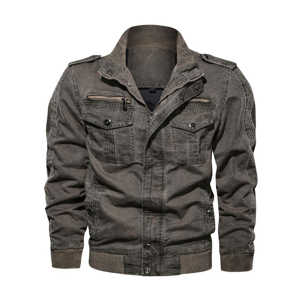 Botrong Men's Autumn Winter Vintage Breathable Washing Jacket Coat (Gray,L) by Botrong