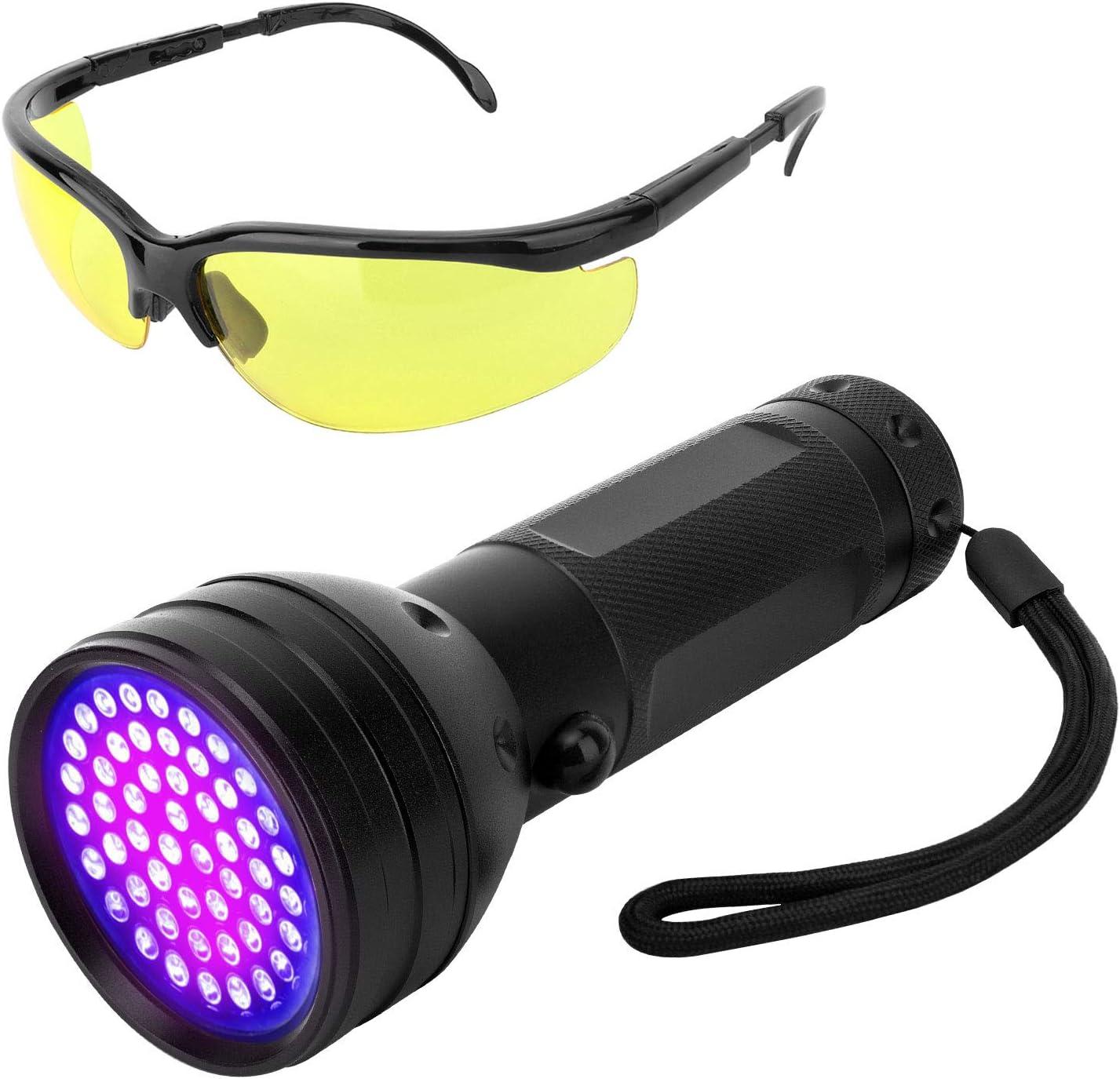 Vavopaw UV Linterna, Luz Negra 395nm Linterna Ultravioleta con Gafas de Protección UV de Clase de Eficiencia Energética A+ para Detectar Manchas de Orina de Mascotas - Negro