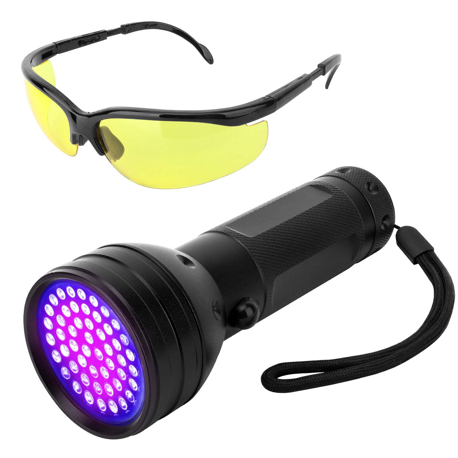 VavoPaw UV Blacklight Flashlight, 51 LED Ultraviolet 395nm UV Hand-held Pet Urine Currency Detector Stains Bed Bug Detective Torch UV Protecting Glasses Included - Black by VavoPaw