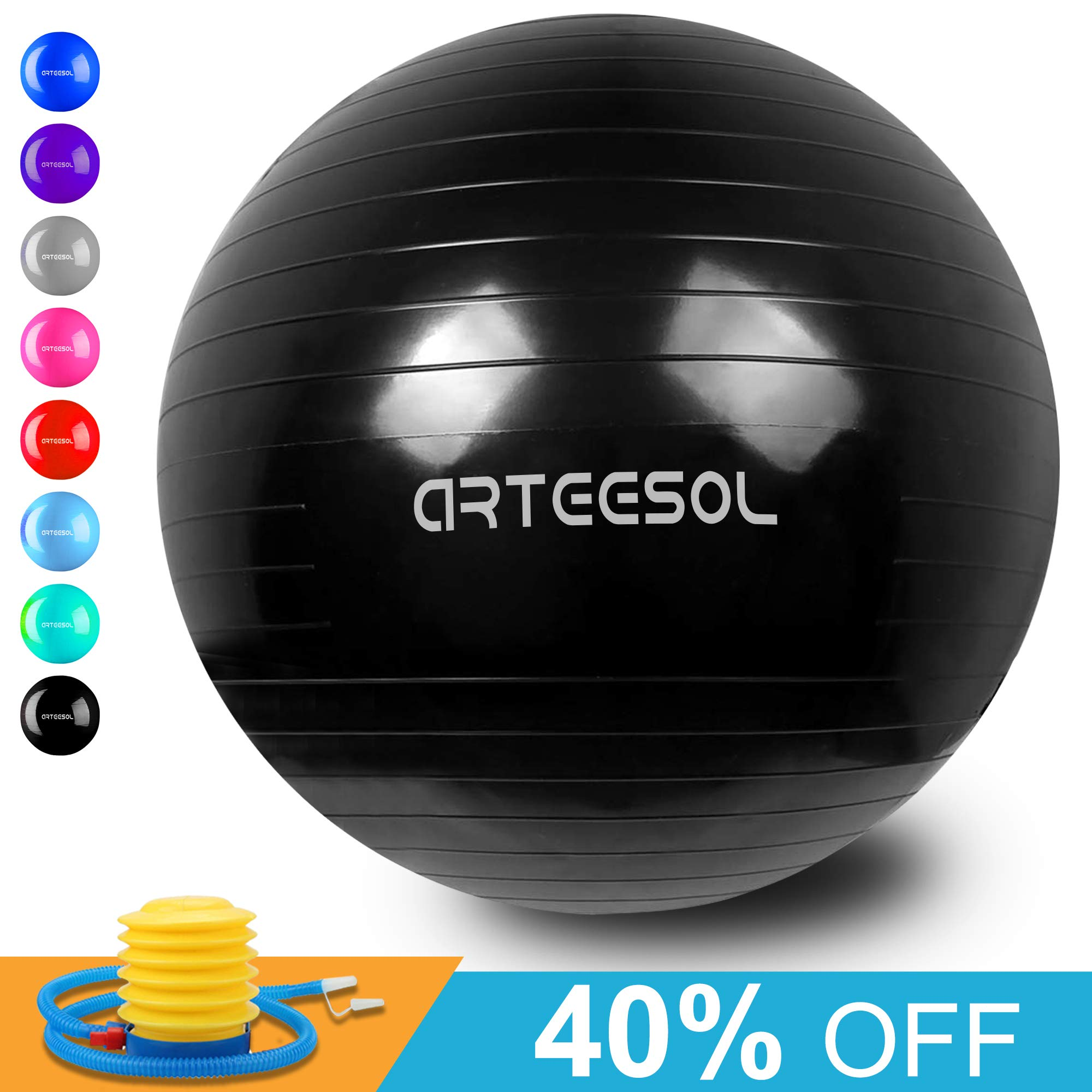 arteesol Exercise Yoga Ball, Extra Thick Stability Balance Ball (45-75cm), Professional Grade Anti Burst&Slip Resistant Balance, Fitness&Physical Therapy, Birthing Ball with Air Pump (Black, 55cm)