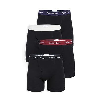 Calvin Klein Underwear Men's Cotton Classics Boxer Briefs Pack, Black/Raspberry/Snow/Blue, Large at Men's Clothing store