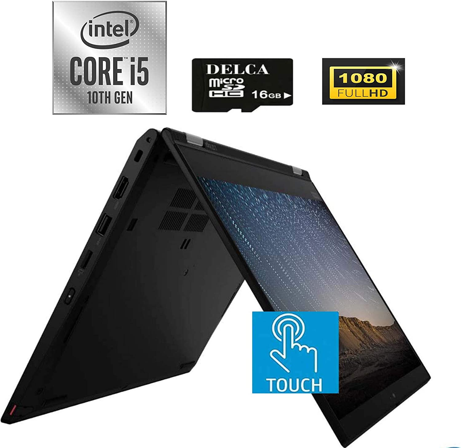 "Lenovo ThinkPad L13 Yoga 2020 Newest 2 in 1 Laptop I 13.3"" FHD IPS Touch I 10th Gen Intel Quad-Core i5-10210U(>i7-7500U) I 8GB DDR4 512GB PCIe SSD I Backlit KB FP Win 10 + Delca 16GB Micro SD Card"