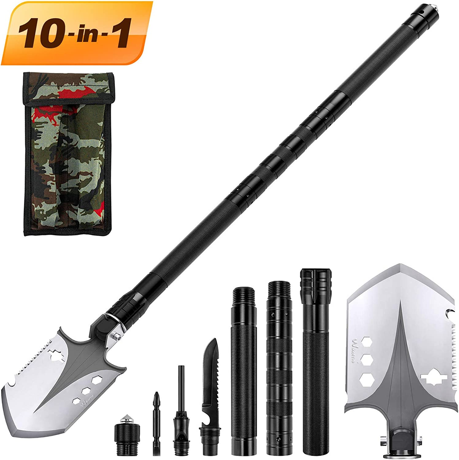 Portable Folding Shovel 10 in 1 Army Survival Gear Multifunctional Entrenching Tool for Camping, Hiking, Backpacking, Fishing, Trekking, Gardening