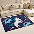 BENNIGIRY Super Soft Modern Unicorn Area Rugs Living Room Carpet Bedroom Rug for Children Play Solid Home Decorator Floor Rug and Carpets 60 x 39 Inch
