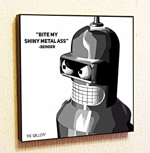 Bender Futurama Robot Decor Motivational Quotes Wall Decals Pop Art Gifts Portrait Framed Famous Paintings on Acrylic Canvas Poster Prints Artwork Geek Decor (10x10 (25.4cm x 25.4cm))