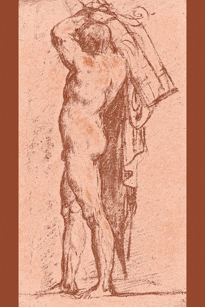 ArtParisienne Nude Man Carrying a Rudder on His Shoulder by Titian Wall Decal, 36'' H x 24'' W