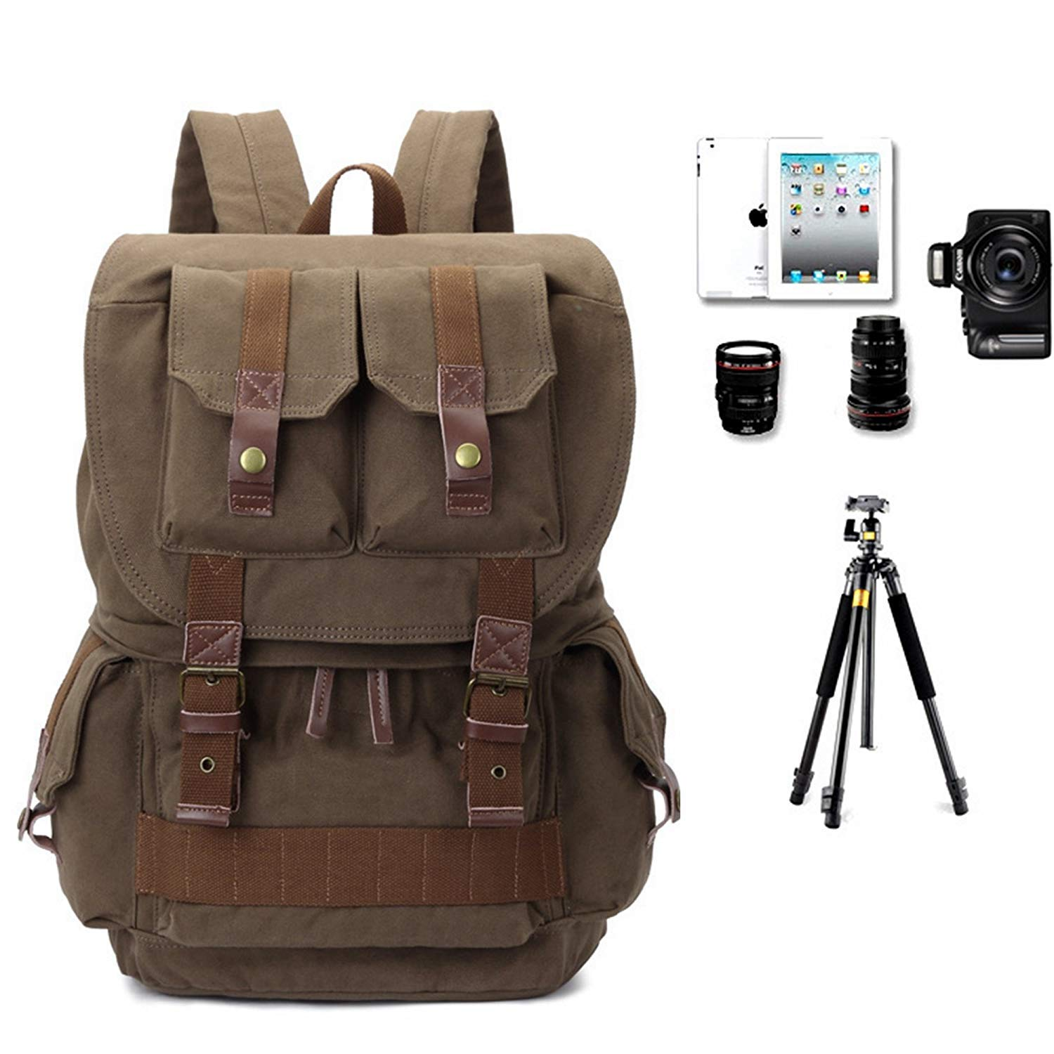 TARION Camera Backpack Canvas Bag Photography Backpack Water Repellent DS.. NEW