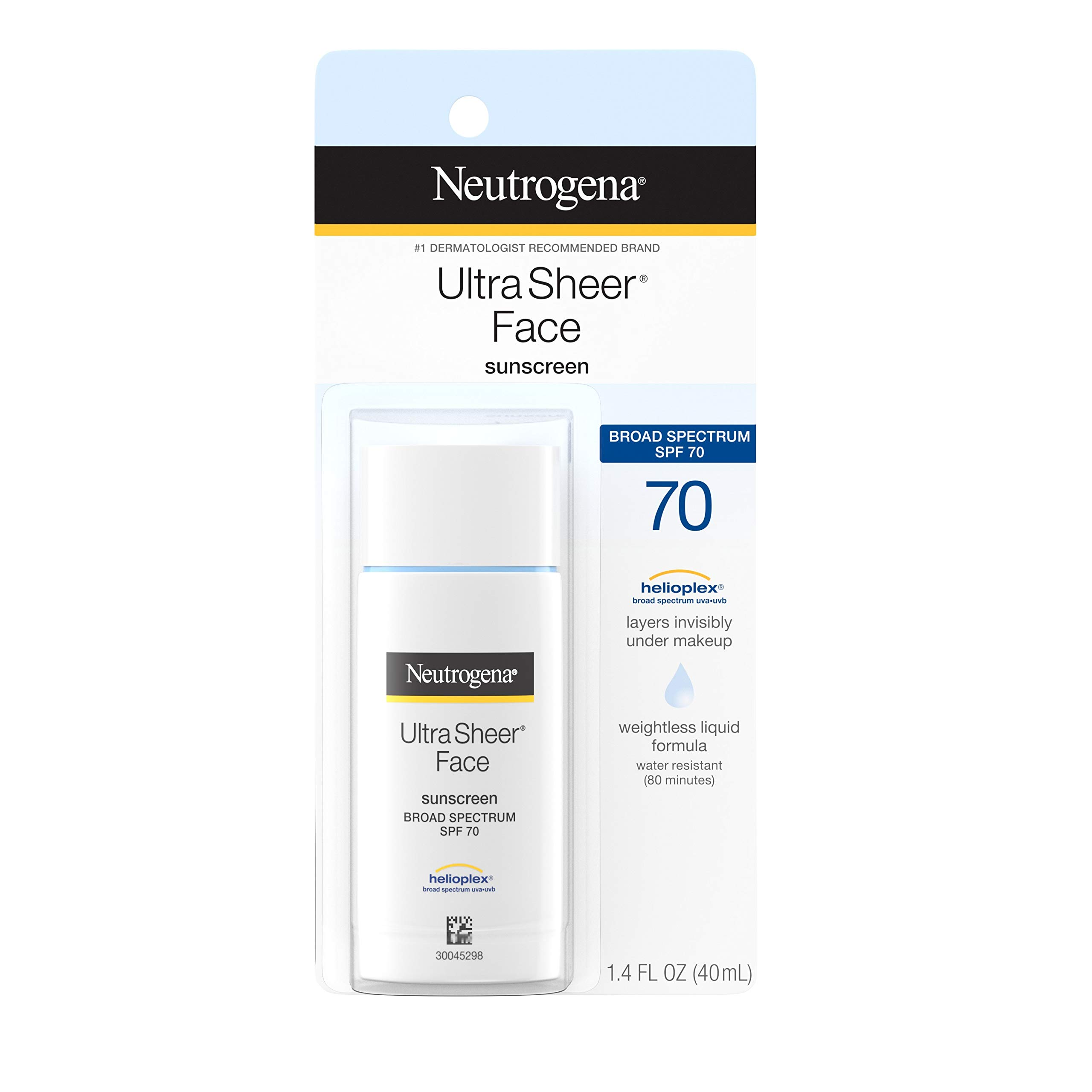 Neutrogena Ultra Sheer Liquid Daily Facial Sunscreen with Broad Spectrum SPF 70, Non-Comedogenic, Oil-free & PABA-Free Weightless Sun Protection, 1.4 fl. oz by Neutrogena