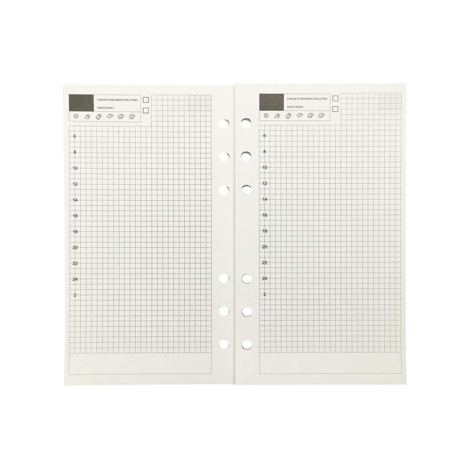 Blank Refill Paper for 6 inch A6 6-Holes Round Ring Binder Pack of 5