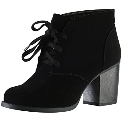 Soda Delicious Women's Ripley Sueded Lace Up Chunky Stacked Heel Ankle Bootie | Ankle & Bootie