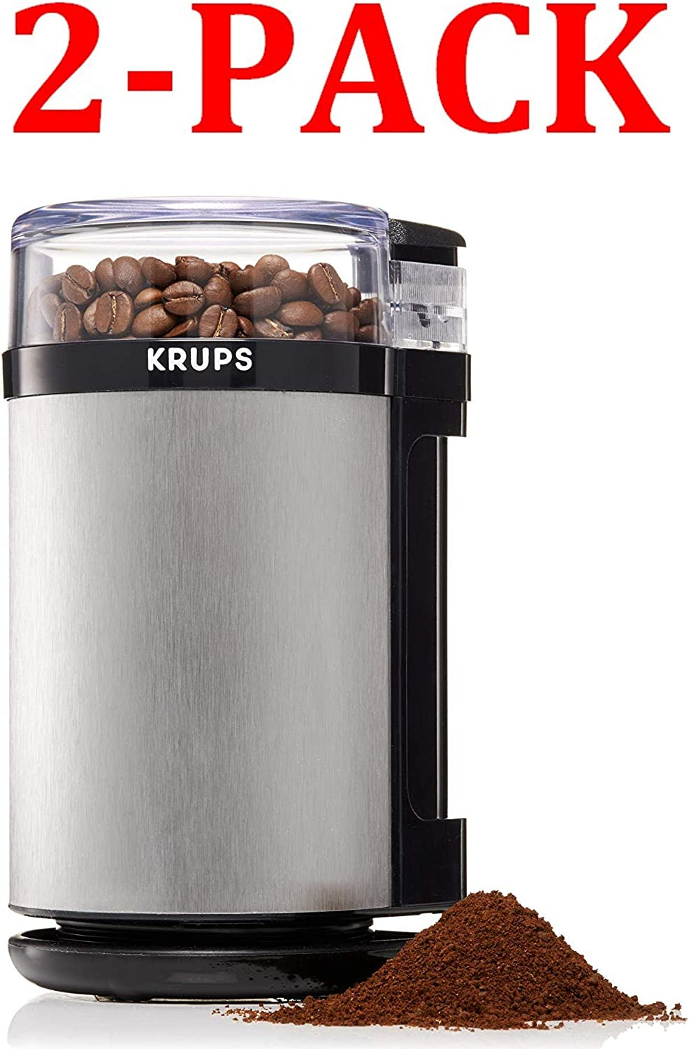 KRUPS GX4100 Electric Spice Herbs and Coffee Grinder with Stainless Steel Blades and Housing, 3-Ounce, Gray 3-Ounce, 2-Pack