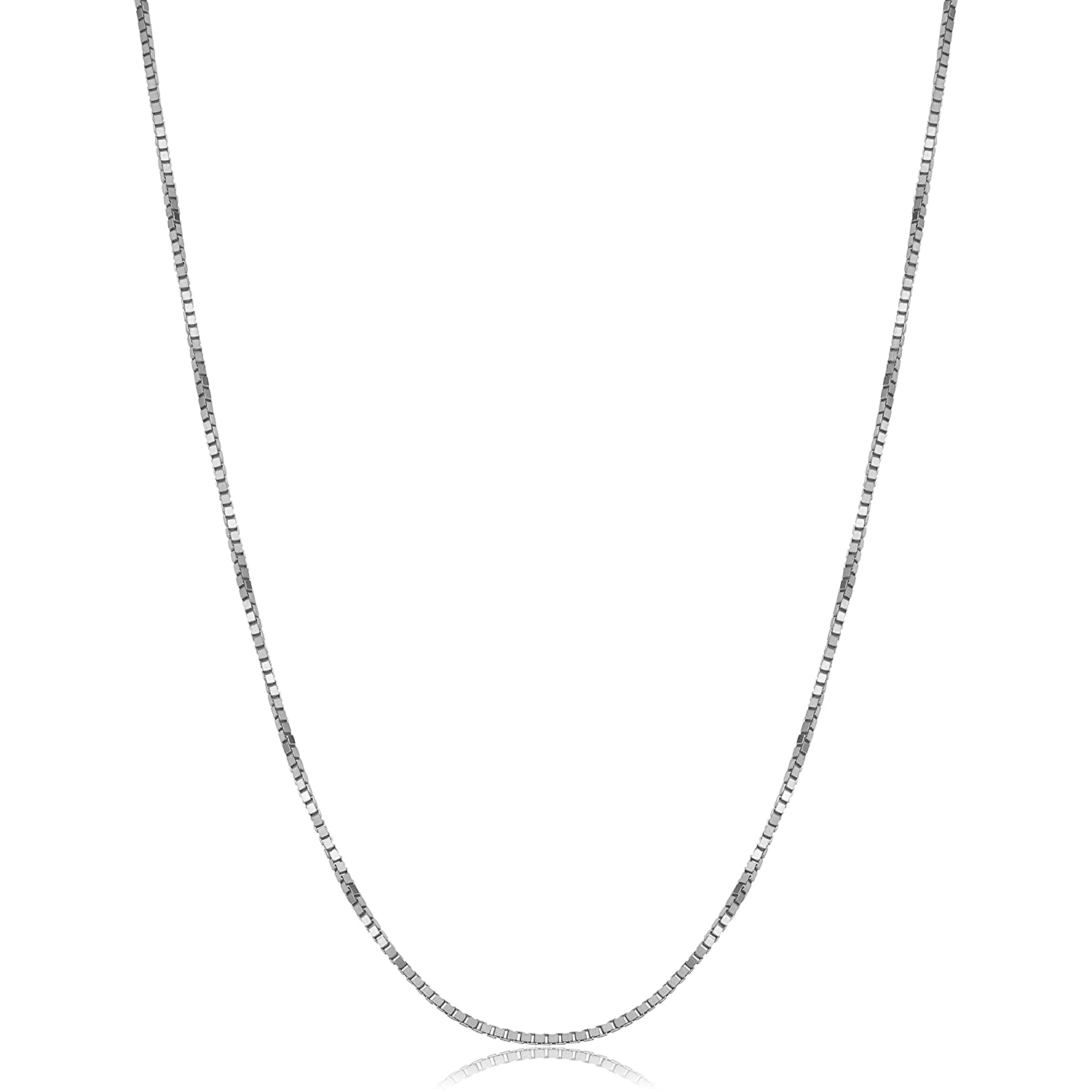 4642951f9a8f9 Kooljewelry 14k Solid White Gold 1 mm Venetian Box Chain Necklace (16, 18,  20, 22, 24 or 30 inch)