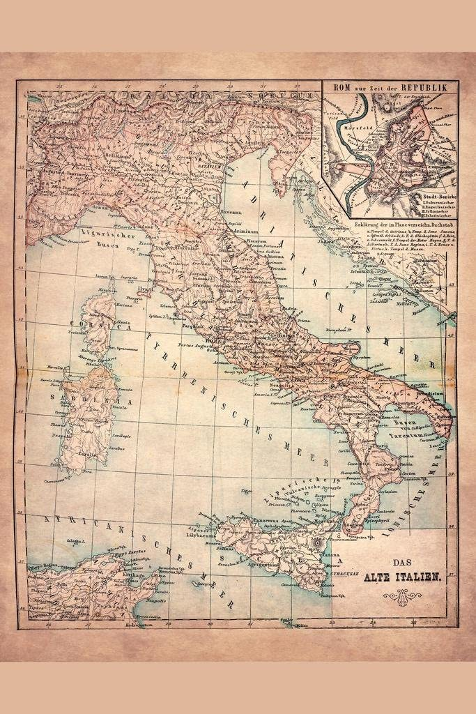 Old Italy 1883 Historical Antique Style Map Cool Wall Decor Art Print Poster 24x36