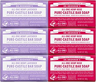 product image for Dr. Bronner's - Pure-Castile Bar Soap, Rose 5 Ounce (3) and Lavender 5 Ounce (3) - Made with Organic Oils, For Face, Body and Hair, Gentle and Moisturizing, Biodegradable, Vegan, Cruelty-free, Non-GMO