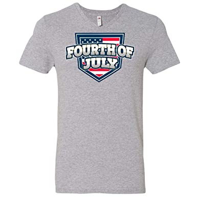 ae5b73bd1 Amazon.com: inktastic - Fourth of July with American Flag Shield Men's  V-Neck T-Shirt 303ef: Clothing