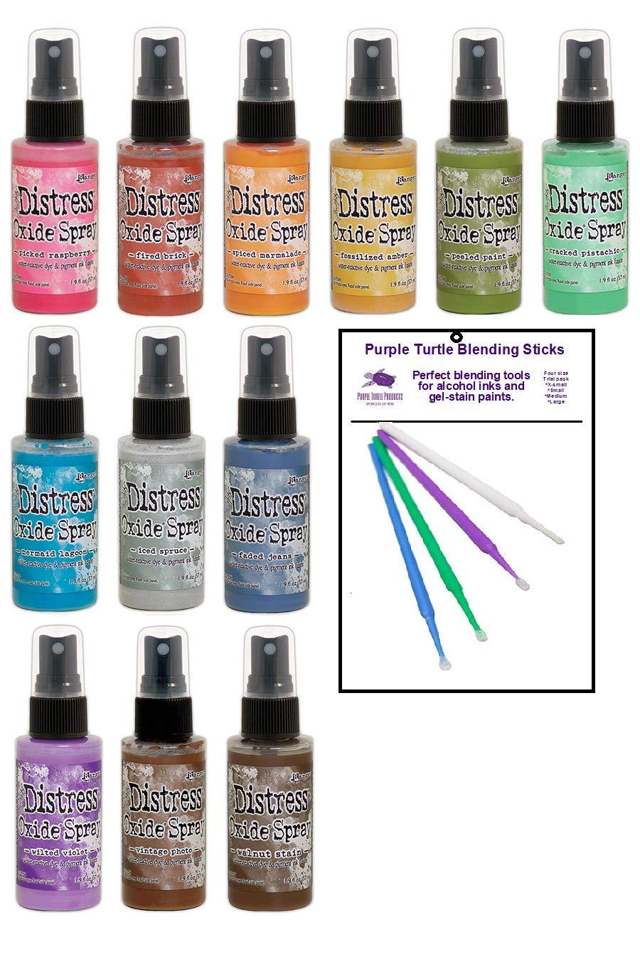 Tim Holtz Distress Oxide Spray Bundle New 2019 Colors (12 Bottle Set) by Purple Turtle Products