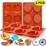 """Palksky (3 PCS) 6-Cavity Silicone Whoopie Pie Baking Pan/Non-Stick 3"""" Round Muffin Top Pan/Mini Tart Pan for Egg Cloud Bread Buns English Muffins Breakfast Sandwiches Mold"""