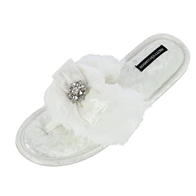 800571c15fd Pretty You London Women s Amelie Thong Slide Slipper with Bow and  Rhinestone
