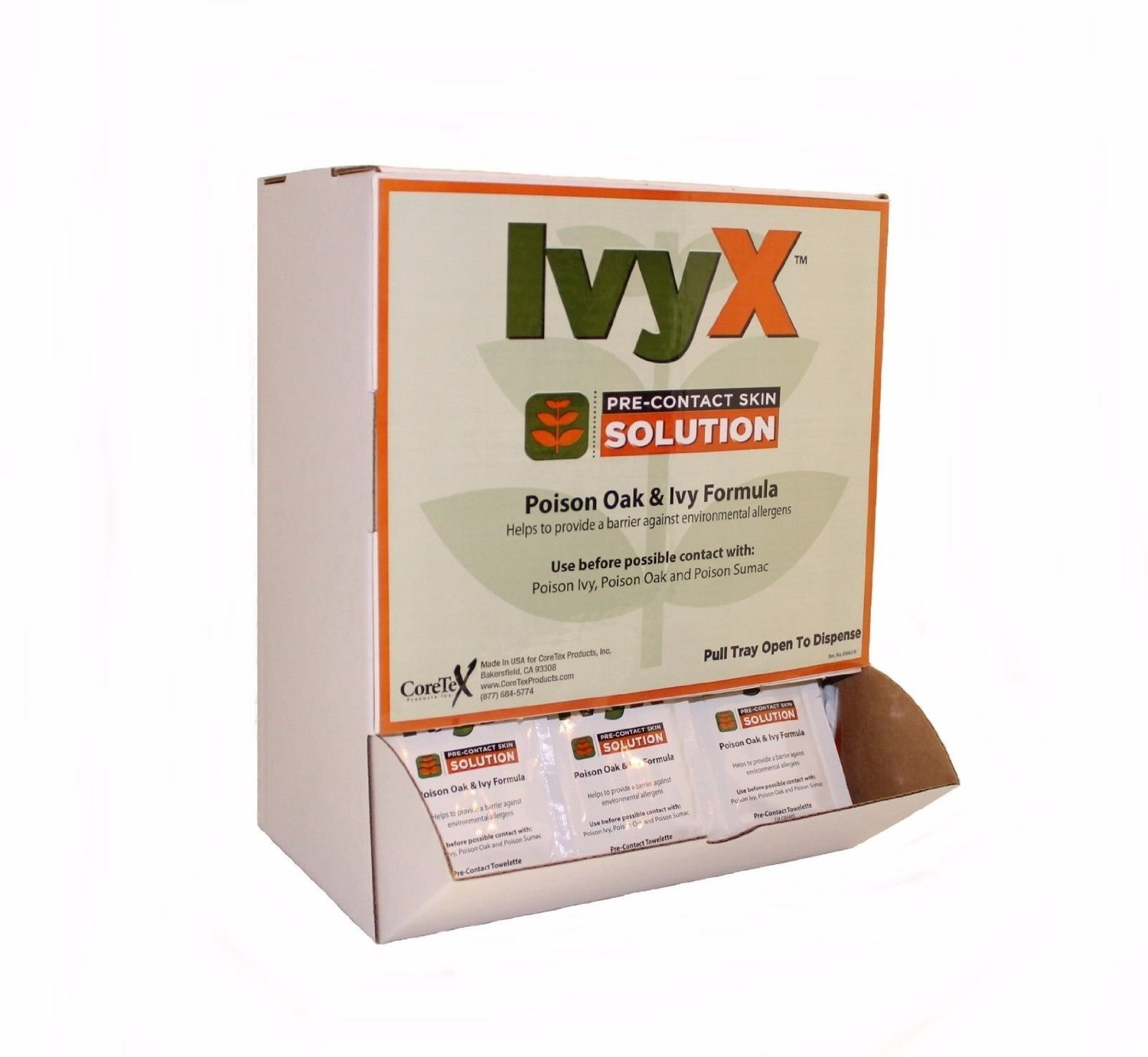 CoreTex Ivy X Towelettes, Pre-Contact Solution, Protects Skin From Poison Ivy/Oak/Sumac, 50 ct. Dispenser Box (83662)