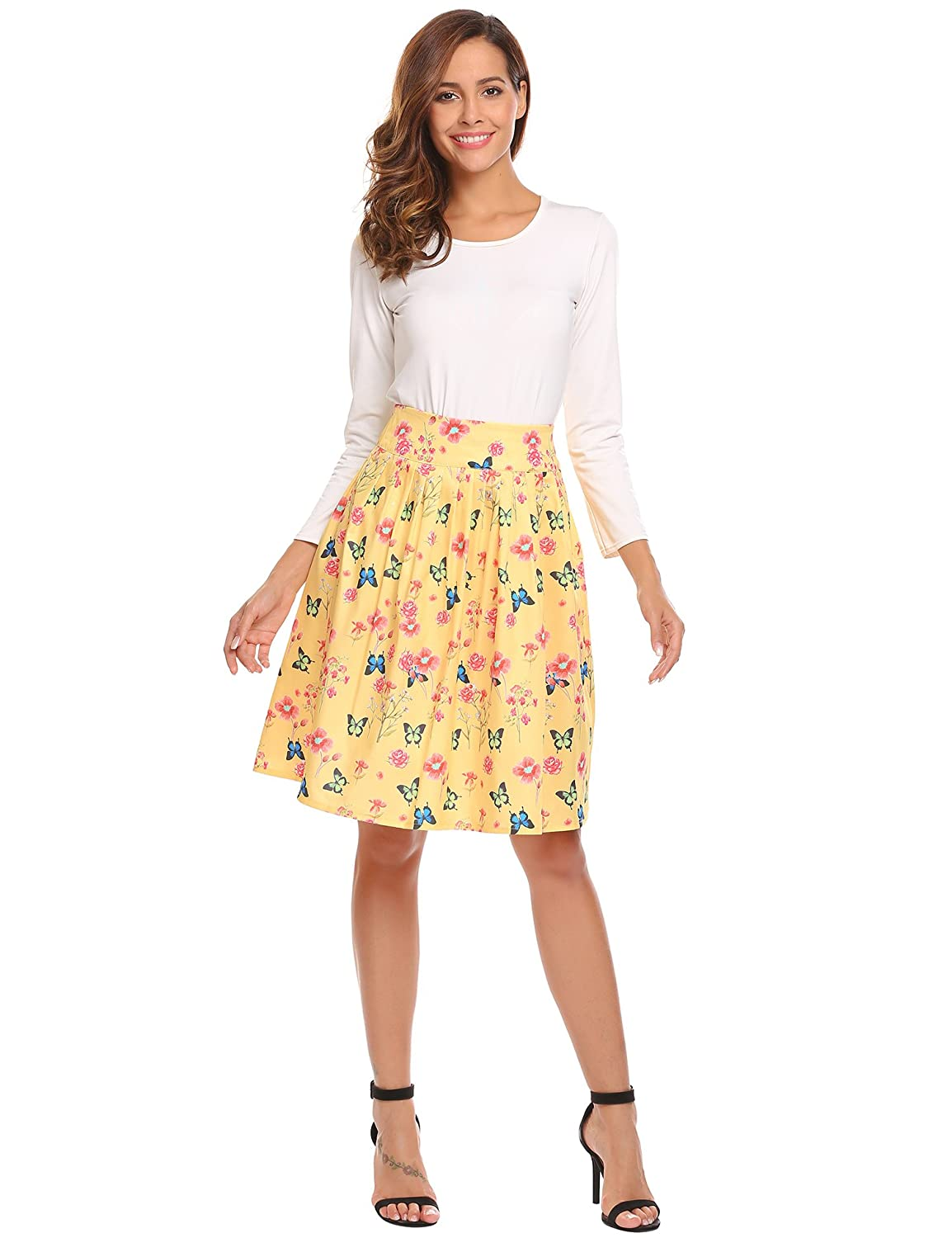 6ea3953f94 Midi A-line Pleated Floral Skirt, Women's Flare Flower Print Vintage High  Waist Knee Length Flowy Skirts for Girls Light Yellow Medium at Amazon  Women's ...