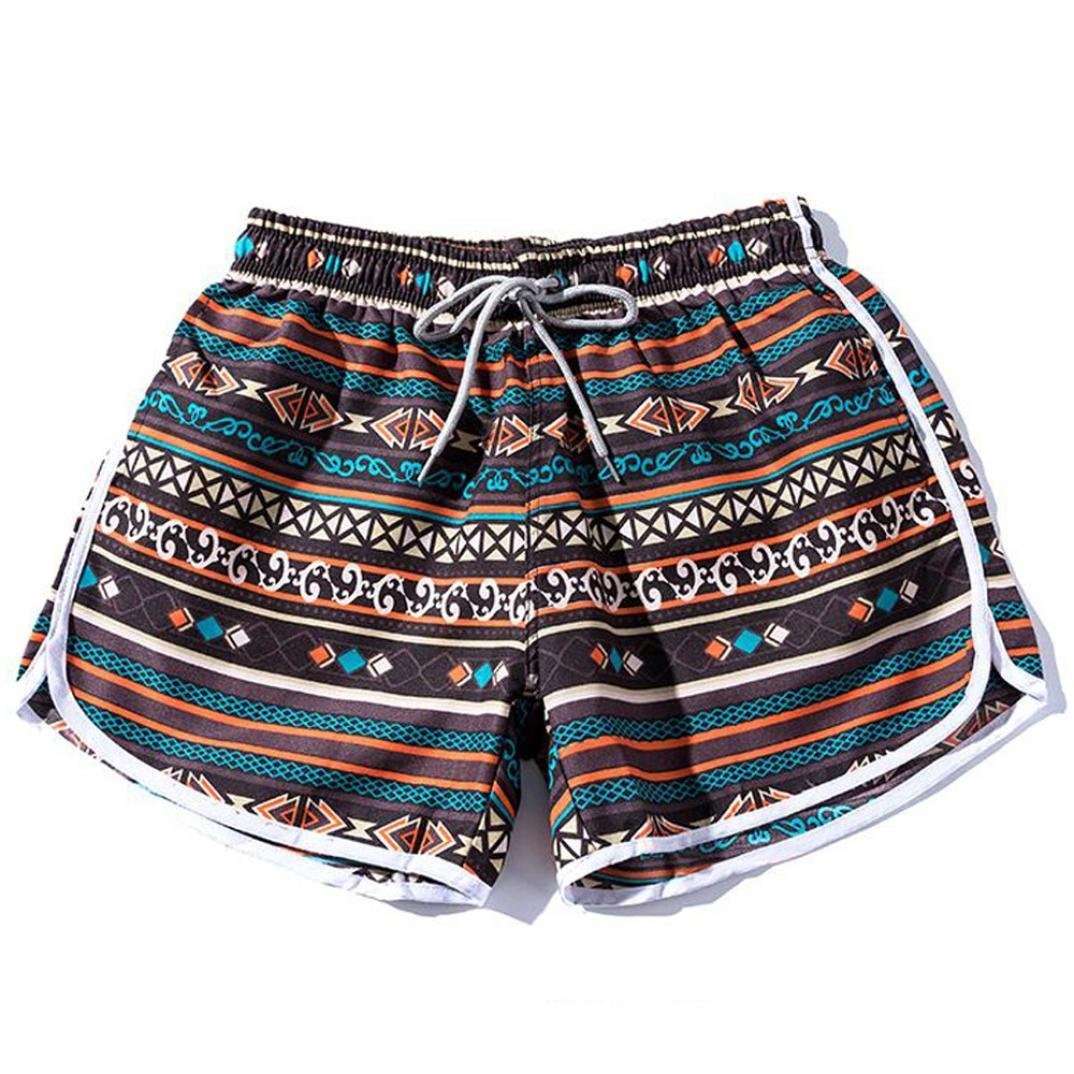 Alixyz Couples Beach Pants Summer Women/Men Bohe Print Swim Shorts Pants Plus Size