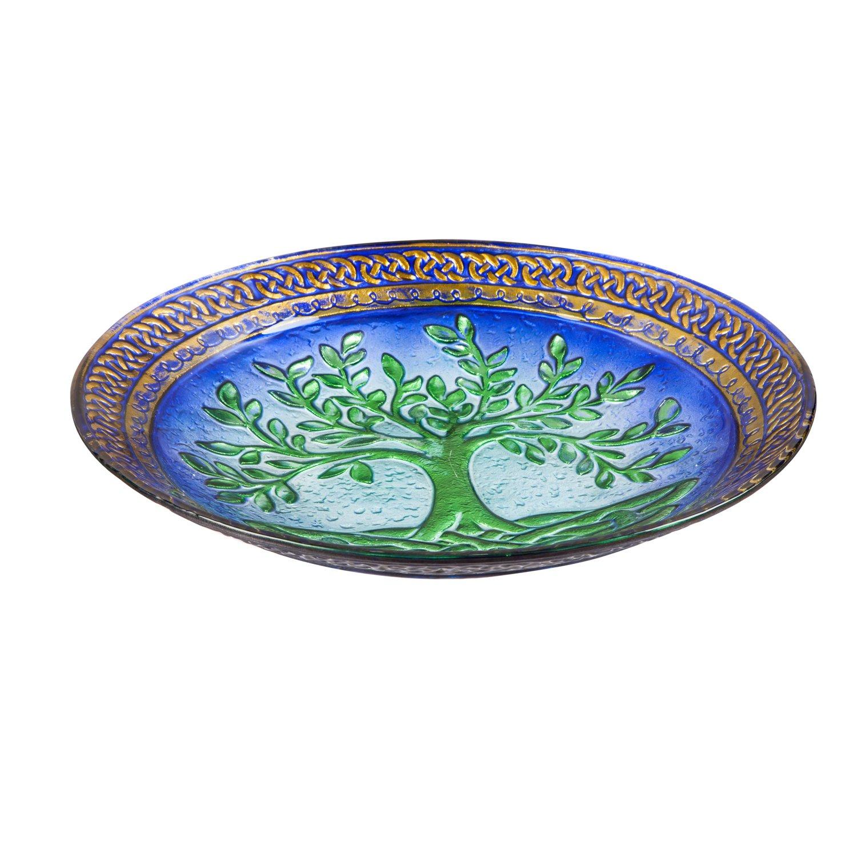 Evergreen Garden Tree of Life Glass Birdbath Bowl, 18 inches