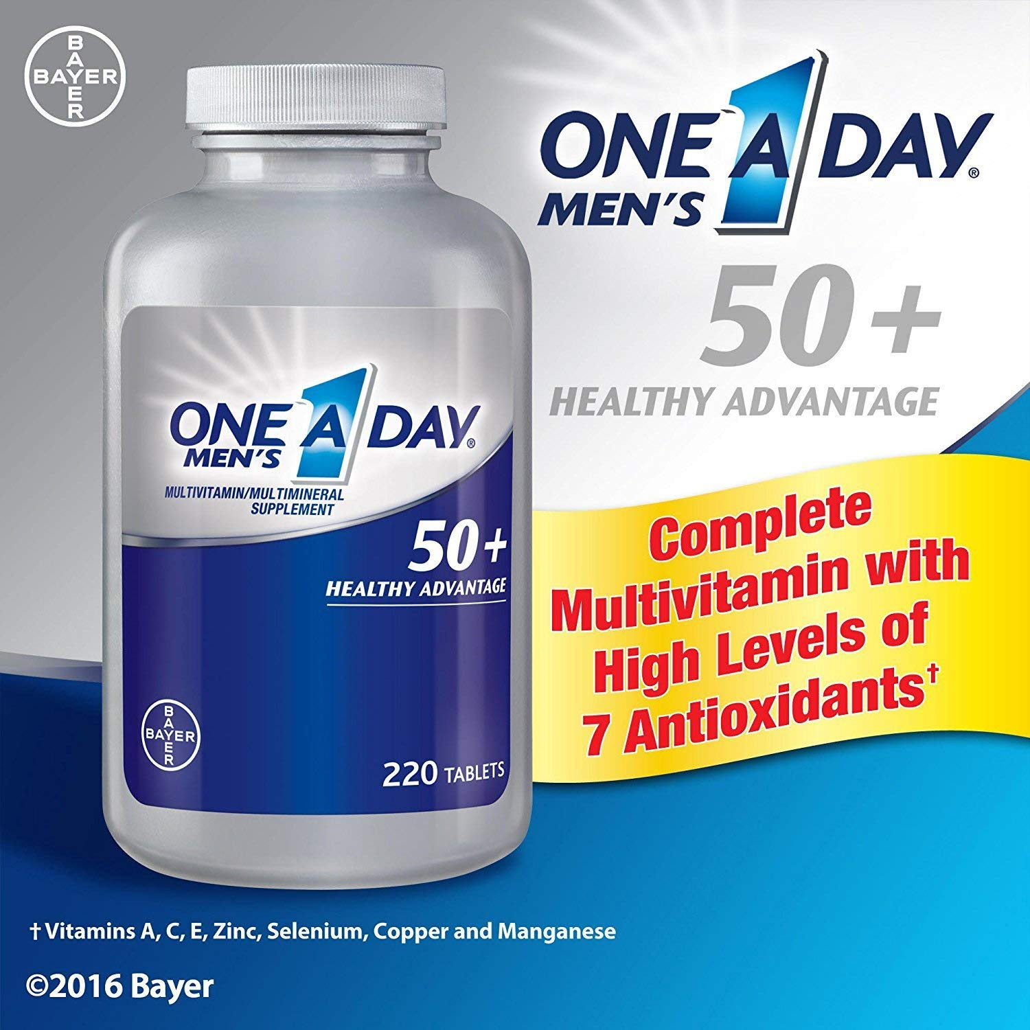 One A Day Men s 50 Plus Advantage Multi-Vitamins, Pack of 220 Count Total