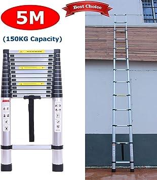 Escalera telescópica recta de 5 m, fácil de transportar, escalera telescópica multiusos EN131, 13 peldaños, capacidad de carga de 150 kg con pies de goma antideslizantes: Amazon.es: Bricolaje y herramientas