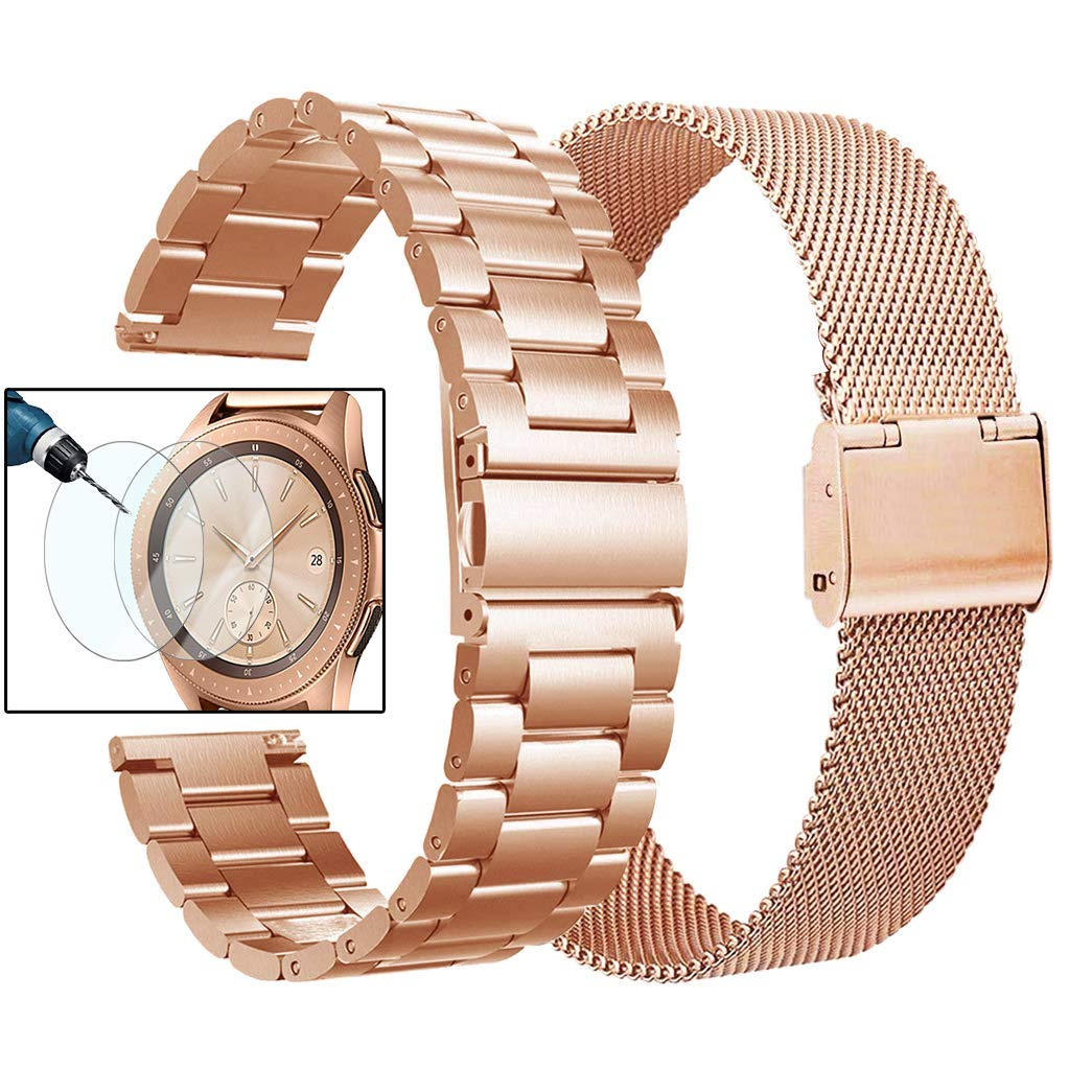 Valkit Compatible Galaxy Watch 42mm Band Rose Gold Women, 2 Pack 20mm Stainless Steel Solid Wrist Bands Business Bracelet Metal Strap Replacement for Samsung Galaxy Watch 42mm/Galaxy Watch Active 40mm by valkit