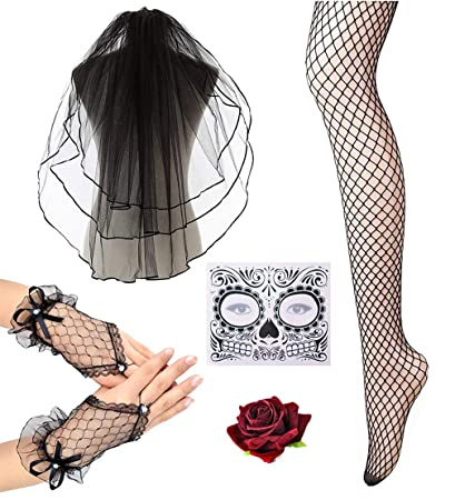 017d38fcb7783 Amazon.com: Women Halloween Day of the Dead Veil With Flower in ...