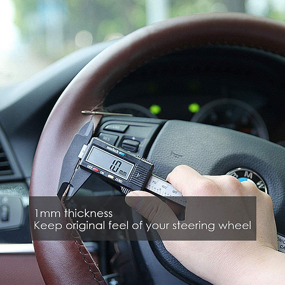 Genuine Leather Steering Wheel Cover DIY Hand Sewing Full Size Support 36//38//40//42//45//47//50cm 14.2//15//15.7//16.5//17.7//18.5//19.7 inch B - Black, 36cm