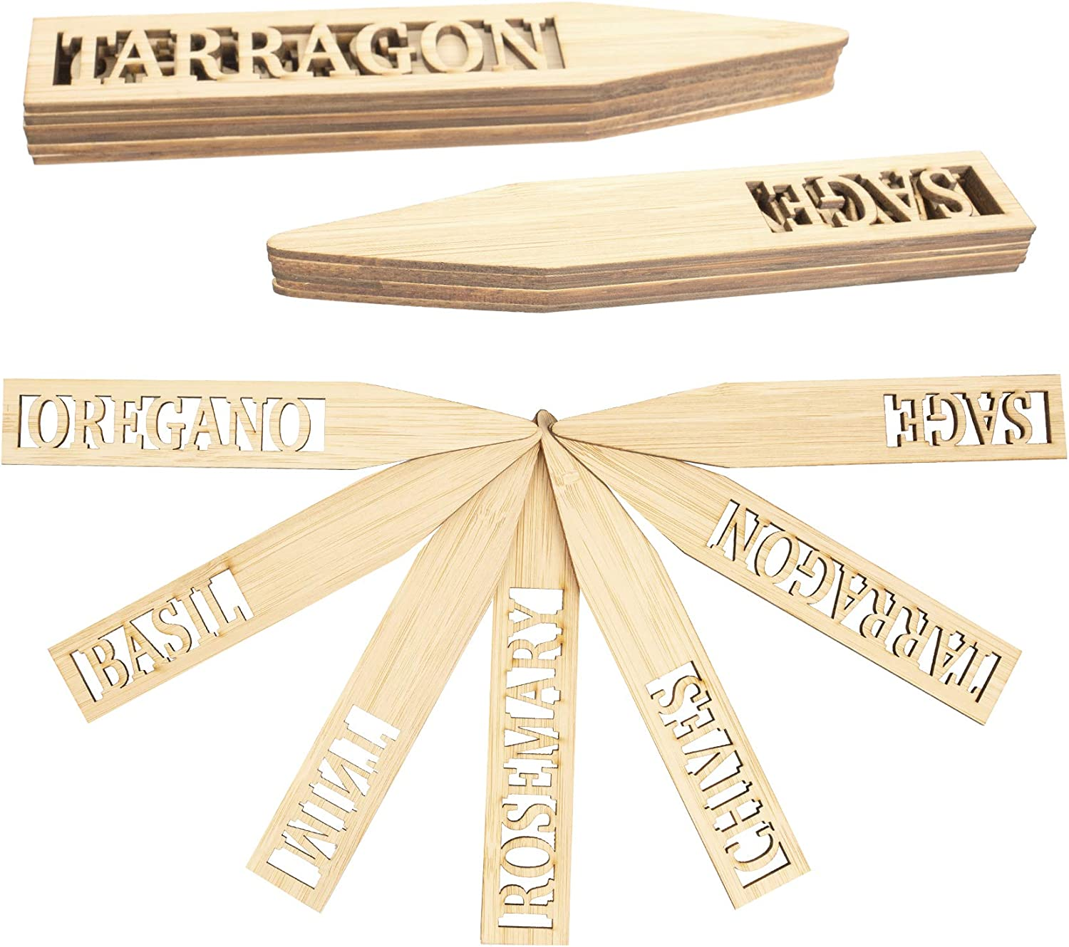 Plant Labels Lettering Garden Markers for Herbs Tags, Hollowed-Out Waterproof Bamboo Wooden Eco-Friendly Sign Sticks for Potted Plants, Herbs, Flowers, Vegetable - 12 Pcs