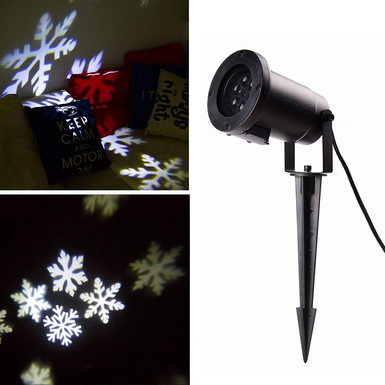 SALCAR LED Efecto Luz con Copos de Nieve Blancas, dinámica ...