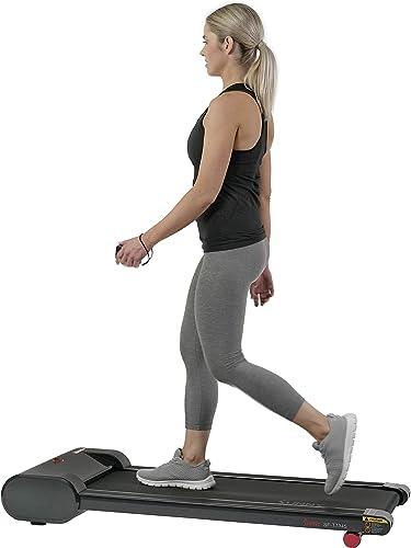 Sunny Health Fitness Walkstation Slim Flat Treadmill